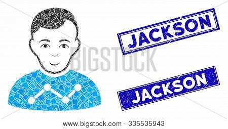 Mosaic User Stats Pictogram And Rectangular Seal Stamps. Flat Vector User Stats Mosaic Pictogram Of