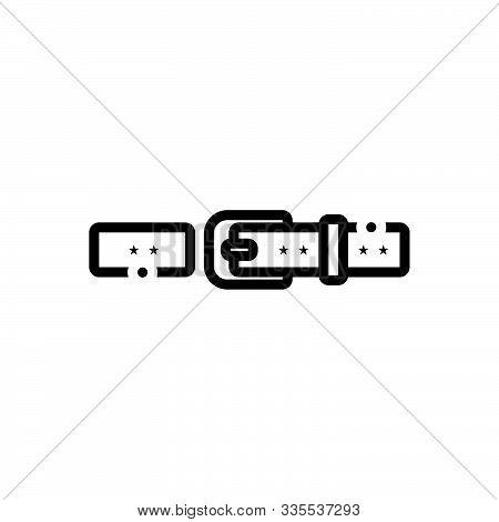 Black Line Icon For Belt Buckle Waistband Garment