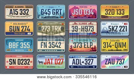 Car Plates. American Registration Numbers Of Different States, Vehicles License Plates. Vector Isola