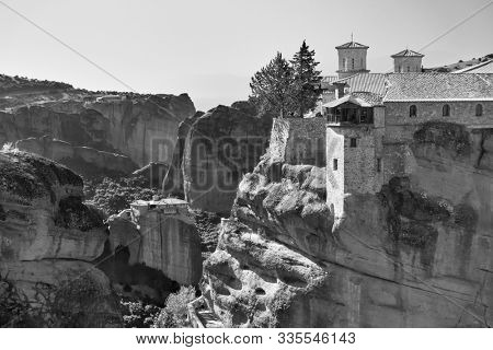 Varlaam and Roussanou monasteries in Meteora, Greece  - Black and white landscape
