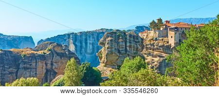Panorama of Meteora with monastery of Varlaam, Greece  - Greek panoramic landscape