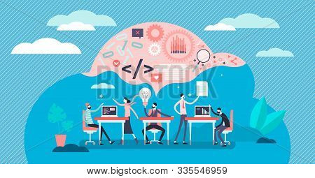 Hackathlon Vector Illustration. Flat Tiny Programmers Competition Persons Concept. Technological It