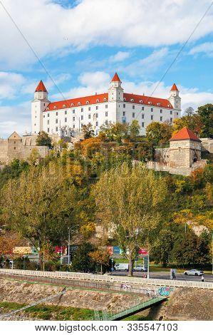 Bratislava, Slovakia - 16 Oct, 2019: Bratislava Castle On The Hill. Beautiful Travel Destination Of