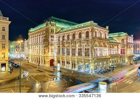 Vienna, Austria - 17 Oct, 2019: Vienna State Opera House In Austria At Night. Popular Tourist Destin