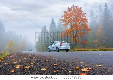 Podobovets, Ukraine - 09 Oct, 2018: New Asphalt Road Through Forest In Fog. Vehicles Driving By In T