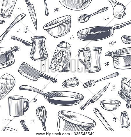 Cooking Utensils Seamless Pattern. Sketch Kitchen Tool, Kitchenware. Pan, Knife And Fork, Grater Che