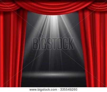 Theater Curtain. Luxury Red Curtains At Black Dark Entertainment Scene With Spotlight Vector Premium