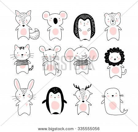 Kids Doodle Poster With Cute Animals. A Collection Of Animals In A Modern Scandinavian Nordic Style.