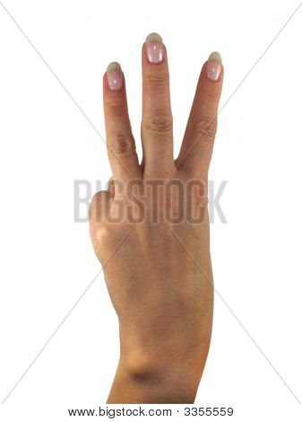 Human Lady Hand Showing Three Fingers Isolated Over White Background