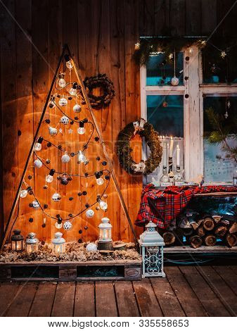 Winter Wooden Exterior Night Veranda Country House With Christmas Decorations Rustic Vintage Style W