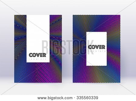 Hipster Cover Design Template Set. Rainbow Abstract Lines On Dark Blue Background. Classic Cover Des