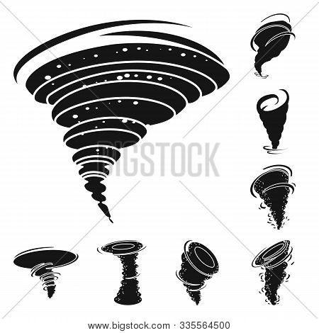 Whirlwind And Tornado Vector Black Icon Set.vector Isolated Illustration Of Swirl Cyclone.icon Set O