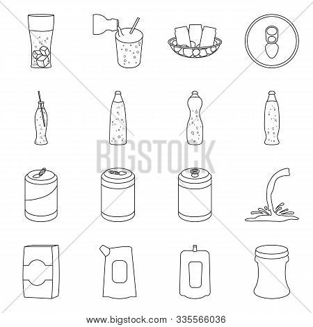 Soda Bottle Vector Line Icon. Set Icon Of Soda Drink And Fizzy.vector Isolated Illustration Of Drink