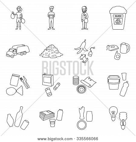 Trash Landfill And Separation Rubbish Vector Line Icon. Set Illustration Of Garbage And Container Wi