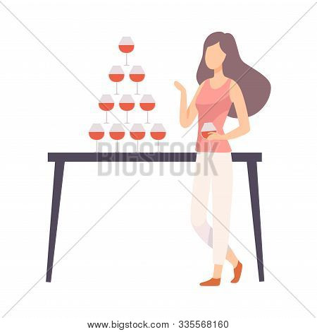Girl In Casual Style Clothes At Banquet Or At Party Vector Illustration Isolated On White Background