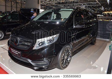 Geneva, Switzerland, March 06-2018: Luxaria Mercedes Benz Mont Blanc At Gims