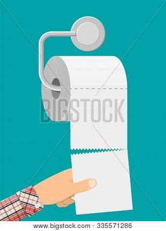 White Roll Of Toilet Paper On Holder. Hank Of Paper For Toilet. Vector Illustration In Flat Style -