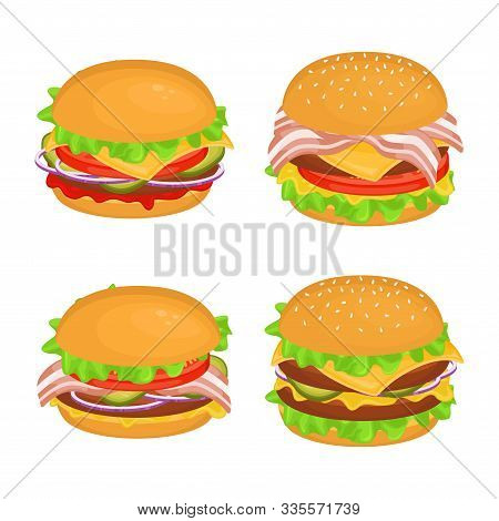 Set Of Different Delicious Hamburgers With Cutlet. Vector Illustration Of Fast Food. Junk Food.
