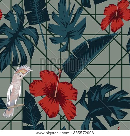 Abstract Tropical Composition Consisting Of Banana And Monstera Leaves, Red Hibiscus Flowers, Sittin