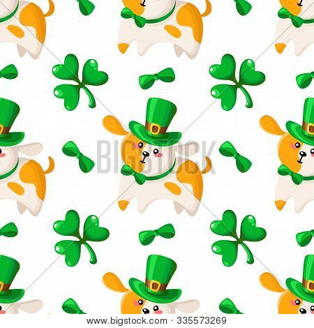Saint Patrick Day Seamless Pattern - Dog Or Puppy In Bowler Hat And Bow, Shamrock Or Clover Green Le