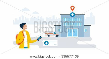 Happy Woman Finding An Hospital Using A Gps Navigation App On Her Smartphone