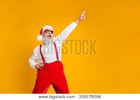 Portrait Of Funny Crazy Santa Claus Hipster In Red Hat Fun Christmas X-mas Party Celebrate Newyear T