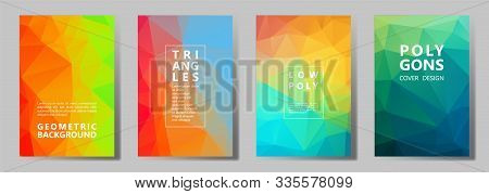 Facet Triangles Vibrant Brochure Covers Vector Graphic Design Set. Crystal Texture Low Poly Patterns