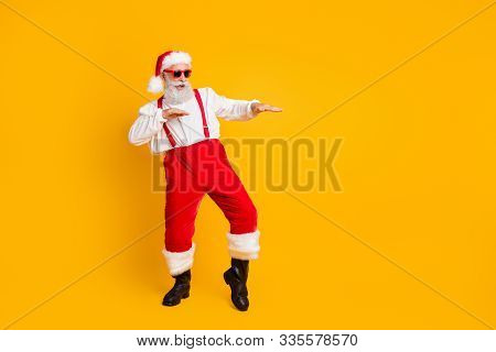 Full Size Photo Of Funny Crazy Cool Santa Claus Fairy Hipster Clubber Enjoy X-mas Christmas Time Par