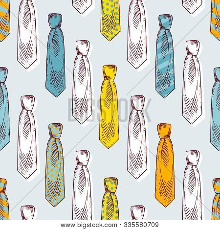 Different Formal Neckties With Knots Color Seamless Pattern
