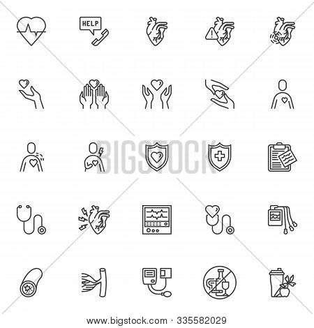 Heart Health Care Line Icons Set. Linear Style Symbols Collection, Outline Signs Pack. Vector Graphi