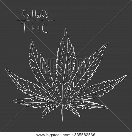 The formula of hemp CBD. Structural model of the molecules of cannabidiol and tetrahydrocannabinol. Medicinal cannabis. Medical marijuana, cannabinoids and health. Drawn in chalk on a gray . Vector