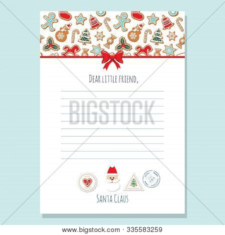Christmas Letter From Santa Claus Template A4. Pattern With Gingerbread Cookies Is Full Under Clippi