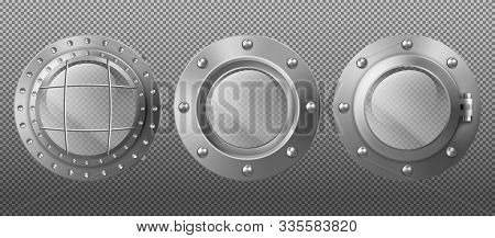Metal Round Portholes In Ship, Submarine Or Spaceship. Vector Set Of Realistic Steel Circle Windows