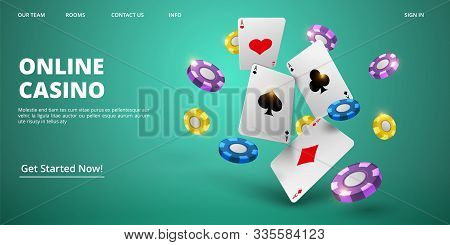 Online Casino Landing Page. Vector Realistic Cards And Chips. Casino Web Banner Template. Illustrati