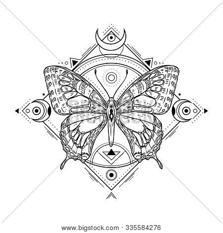 Mystic Insect Tattoo. Engraving Mystical Spiritual Sketch Design. Alchemy Freemasonry Occult Vector