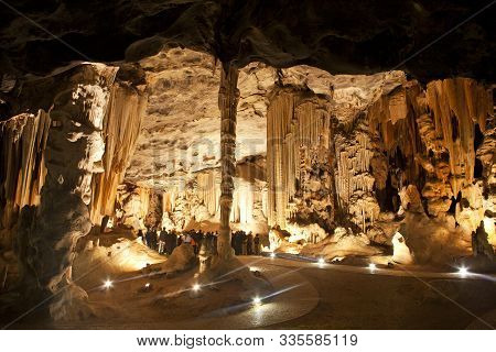 Close Up Of Limestone Formations In The Throne Room In The Cango Caves, Situated In A Limestone Ridg