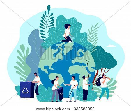 Take Care Of Earth. Environmental Protection, People Saving Planet, Green Energy Ecosystem, Voluntee