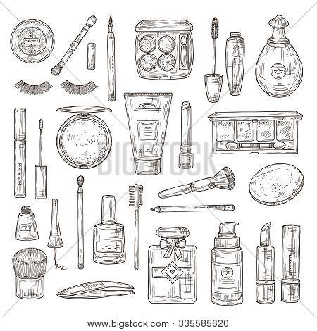 Sketch Cosmetics. False Eyelashes, Lipstick And Perfume, Powder And Makeup Brush, And Nail Polish, F