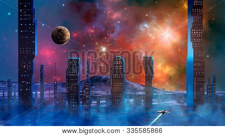 Spaceship Flying Over Haze And Smoke From Abstract Modern Sci-fi City With Colorful Fractal Nebula A