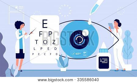 Ophthalmology Illustration. Ophthalmologist Checks Vision Vector Concept. Woman Oculist Optical Eyes