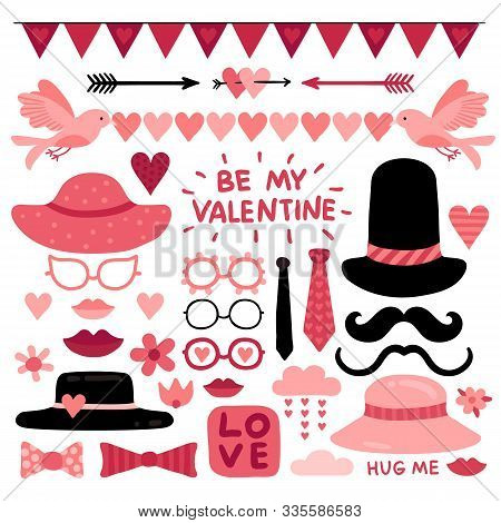 Valentines Day Photo Booth Props. Pink Love Wedding Scrapbook Elements, Lips And Mustaches. Glasses,