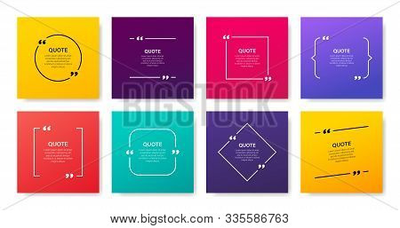 Quote Box Frame, Big Set. Quote Box Icon. Texting Quote Boxes. Blank Template Quote Text Info Design