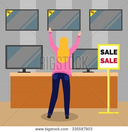 Big Discounts In Marketplace With Tv Set. Back View Of Woman Character Holding Monitor Of Television