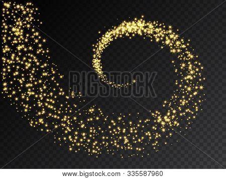 Golden Glittering Swirl Vector Illustration. Shimmering Spiral With Stars Isolated On Transparent Ba
