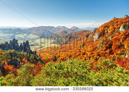Brightly Colored Forests Of Mountains At Autumn. National Nature Reserve Sulov Rocks, Slovakia, Euro