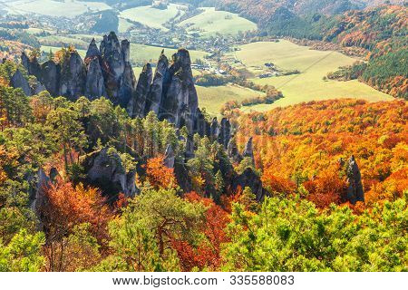 Brightly Colored Forests Of Mountain Valley At Autumn. National Nature Reserve Sulov Rocks, Slovakia