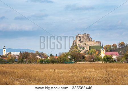 Medieval Castle Beckov With The Same Name Village, Slovakia, Europe.
