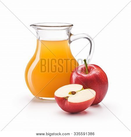 A Jug Of Apple Cider Vinegar With Fresh Red Apples Isolated On White Background