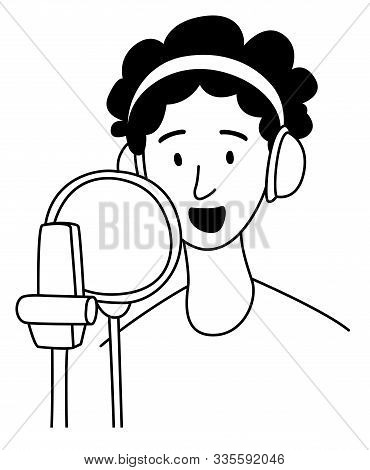 Girl Recording Voice In A Recording Studio. Podcast Presenter With Mike.