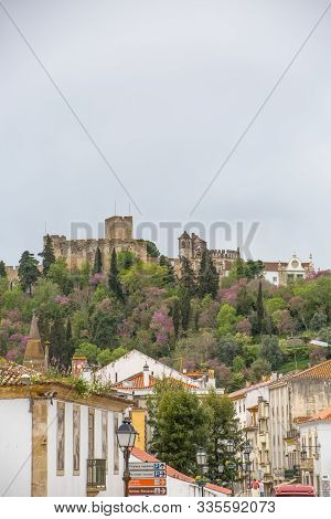 Tomar / Portugal - 04 04 2019 : Full View At The Convent Of Christ And Tomar City Downtown, Roman Ca